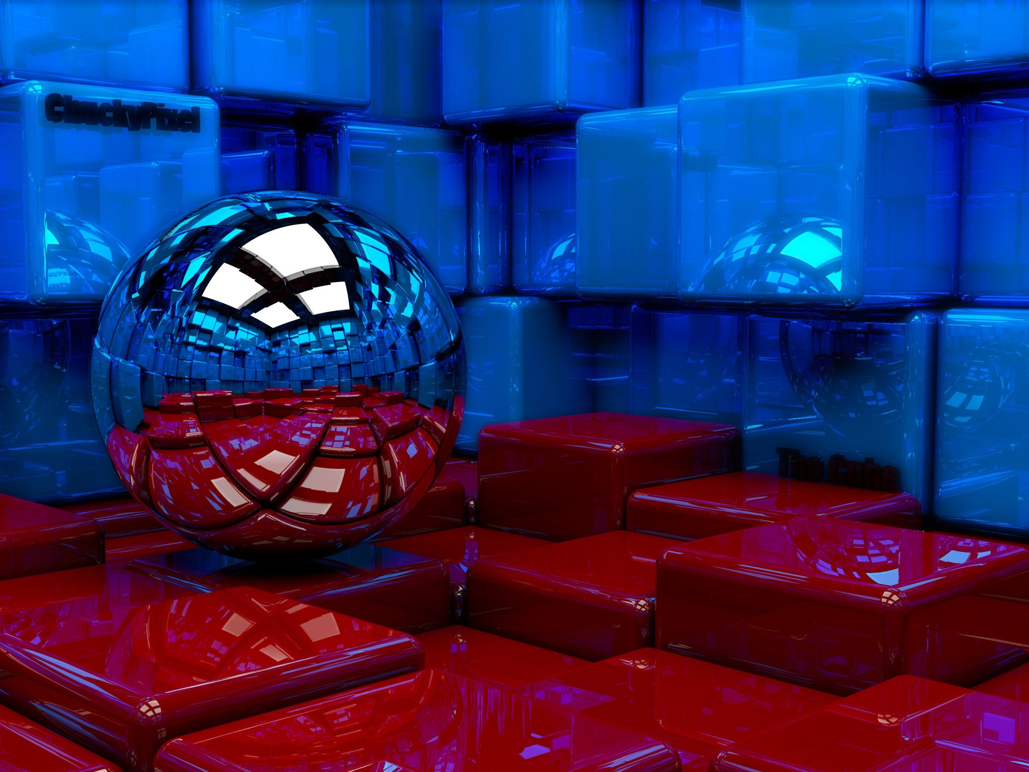 Ball Cubes Metal Blue Red Reflection 97785 3840x2160 HD Wallpapers