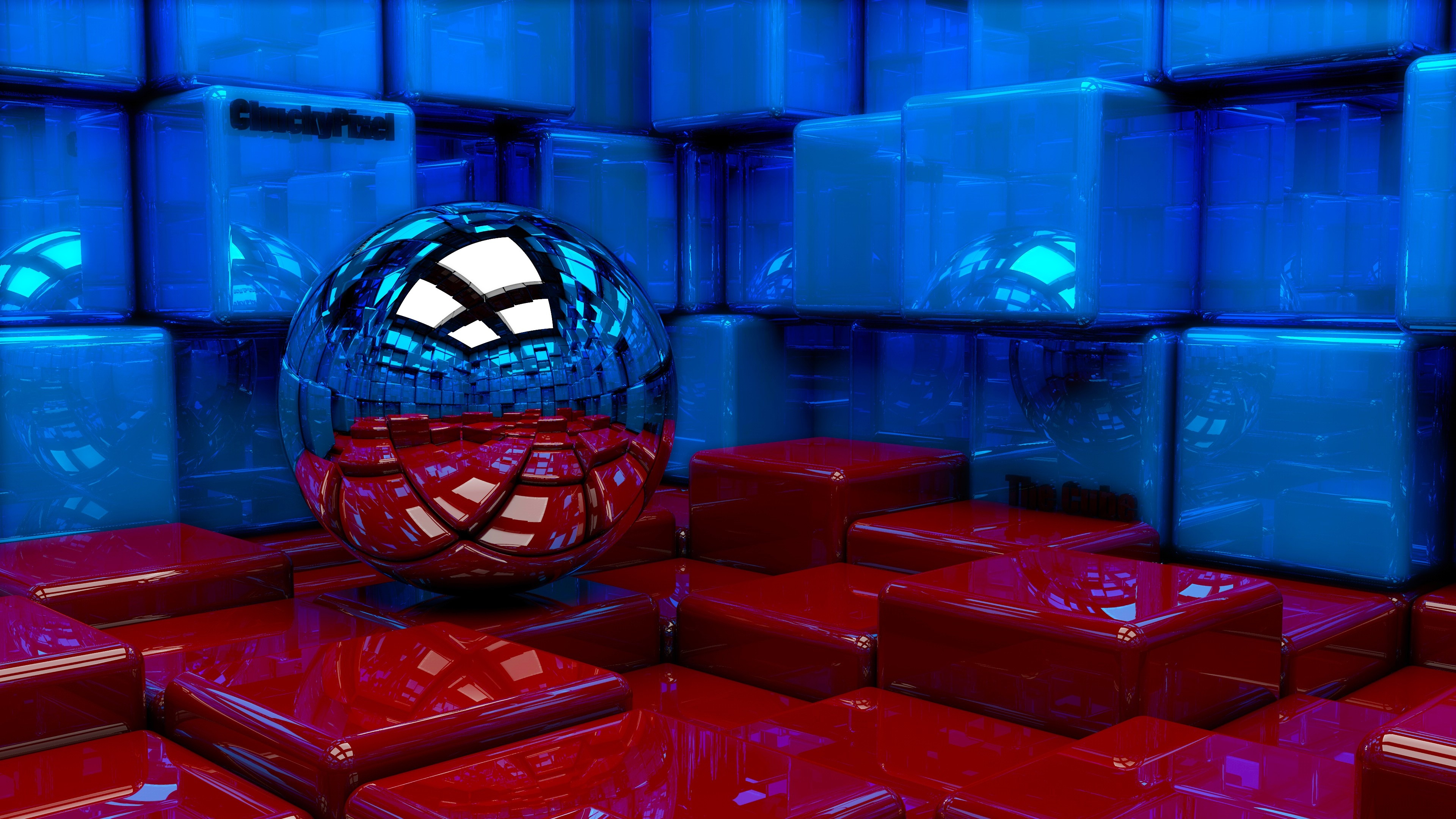 Ball Cubes Metal Blue Red Reflection 97785 3840 2160 Hd Wallpapers