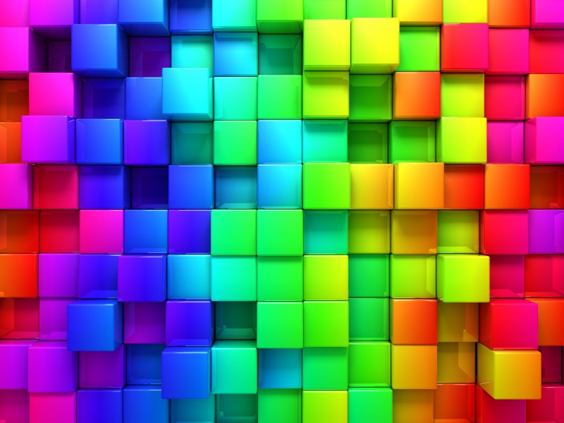 Blocks Rainbow 3d Graphics Background 76559 60004000 Hd